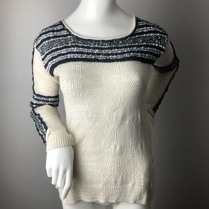 Free People Textured Long Sleeve Knit Black White